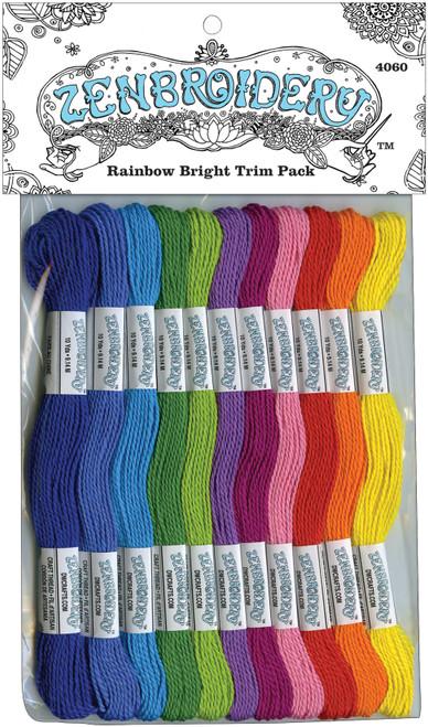 Design Works/Zenbroidery Stitching Trim Pack 12/Pkg-Rainbow -DW4060