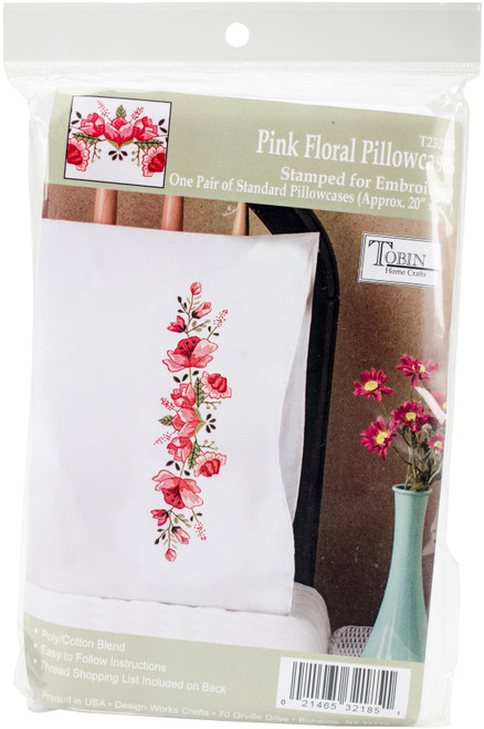 """Tobin Stamped For Embroidery Pillowcase Pair 20""""X30""""-Pink Floral -T232185 - 021465321851"""