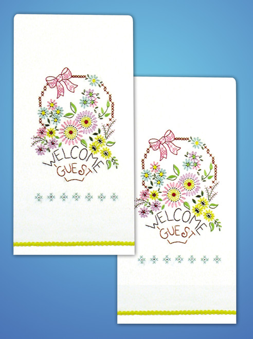 """Tobin Stamped For Embroidery Kitchen Towels 18""""X28"""" 2/Pkg-Welcome Guest -T264104"""