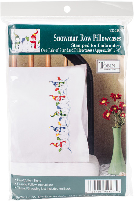 """Tobin Stamped For Embroidery Pillowcase Pair 20""""X30""""-Snowman Row -T232187 - 021465321875"""