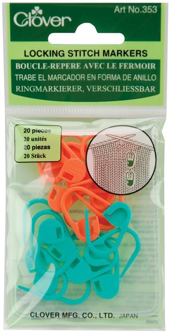 Clover Locking Stitch Markers-20/Pkg -353 - 051221356049