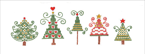 """Tobin Stamped For Embroidery Pillowcase Pair 20""""X30""""-Christmas Trees -T232188"""