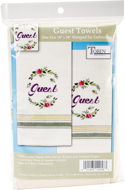 """Tobin Stamped For Embroidery Kitchen Towels 18""""X28"""" 2/Pkg-Guest -T212958 - 021465129587"""