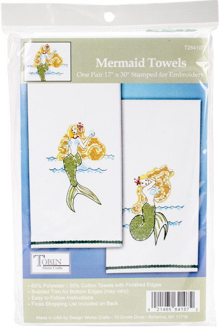 """Tobin Stamped For Embroidery Kitchen Towels 18""""X28"""" 2/Pkg-Mermaid -T264107 - 021465641072"""
