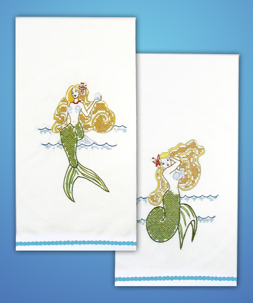"""Tobin Stamped For Embroidery Kitchen Towels 18""""X28"""" 2/Pkg-Mermaid -T264107"""