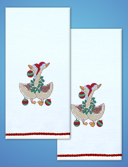 """Tobin Stamped For Embroidery Kitchen Towels 18""""X28"""" 2/Pkg-Christmas Geese -T264115"""