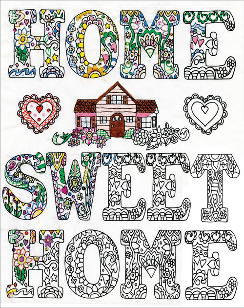 """Design Works/Zenbroidery Stamped Embroidery Kit 12""""X12""""-Home Sweet Home -DW4044"""