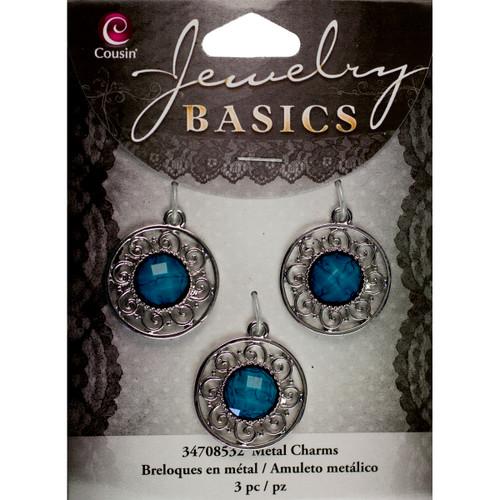 Jewelry Basics Metal Charms-Silver & Turquoise Filigree 3/Pkg -JBCHARM-8532 - 016321088658