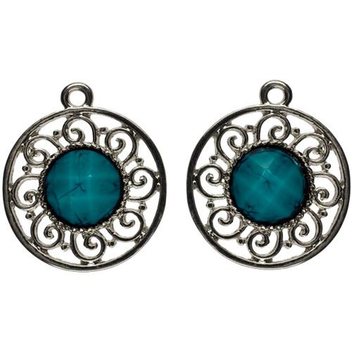 Jewelry Basics Metal Charms-Silver & Turquoise Filigree 3/Pkg -JBCHARM-8532