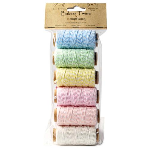 Hemptique Cotton Baker's Twine Mini Spool Set 2-Ply 65'-Creamy Pastel -BTBG2CP - 091037333865