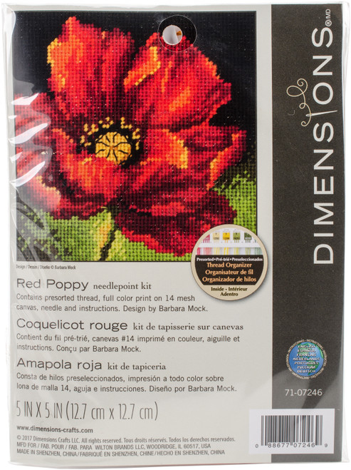 """Dimensions Mini Needlepoint Kit 5""""X5""""-Red Poppy Stitched In Floss -71-07246 - 088677072469"""