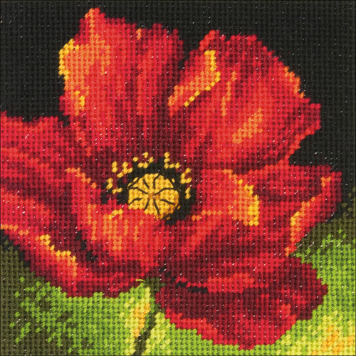 """Dimensions Mini Needlepoint Kit 5""""X5""""-Red Poppy Stitched In Floss -71-07246"""