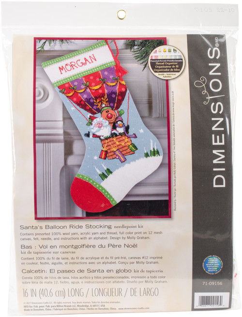 """Dimensions Stocking Needlepoint Kit 16"""" Long-Santa's Balloon Ride Stitched In Yarn -71-09156 - 088677091569"""
