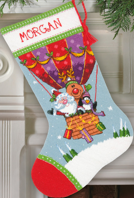 """Dimensions Stocking Needlepoint Kit 16"""" Long-Santa's Balloon Ride Stitched In Yarn -71-09156"""