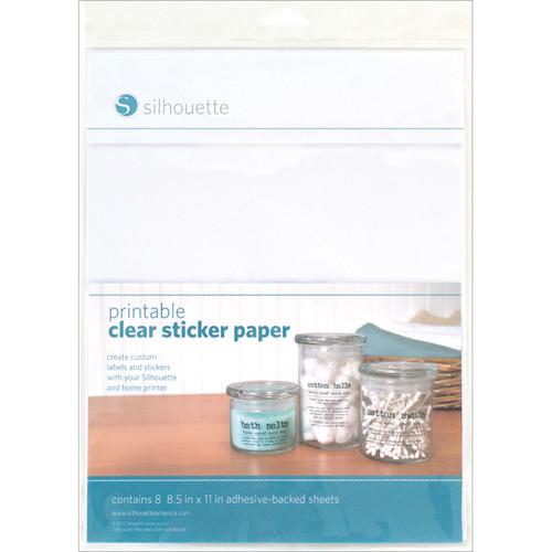 """Silhouette Printable Sticker Paper 8.5""""X11"""" 8/Pkg-Clear -CLRADH - 814792012529"""