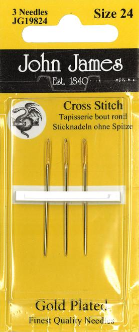 John James Gold Tapestry Hand Needles-Size 24 3/Pkg -JG198-24 - 783932201133