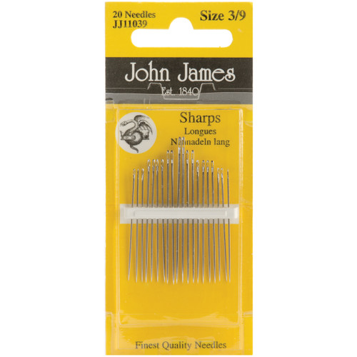 John James Sharps Hand Needles-Size 3/9 20/Pkg -JJ110139 - 783932200112