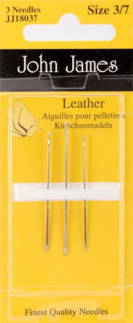 John James Leather Hand Needles-Size 3/7 3/Pkg -JJ180-37 - 783932200976
