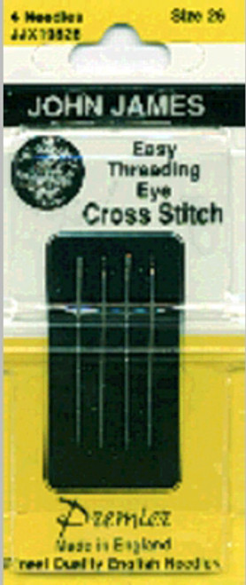 John James Easy Threading Calyxeye Hand Needles-Size 26 4/Pkg -JJX198-26 - 783932201355