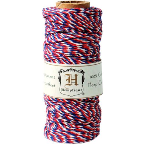 Hemptique Hemp Variegated Cord Spool 20lb 205'-Americana -HS20VA-AM - 091037333230