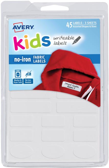 No-Iron Clothing Labels 45/Pkg-White, Assorted Sizes -40700 - 072782407001