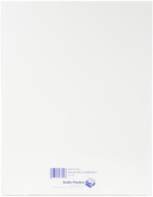 """Grafix Inkjet Shrink Film 8.5""""X11"""" 50/Pkg-White -KSF50IJ-W - 096701138098"""