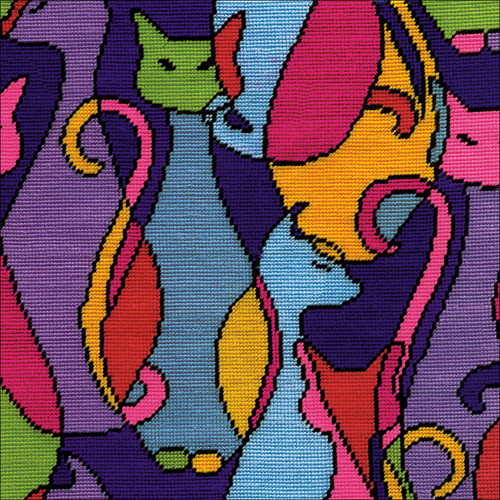 """Design Works Needlepoint Kit 12""""X12""""-Colorful Cat-Stitched In Yarn -DW2614"""