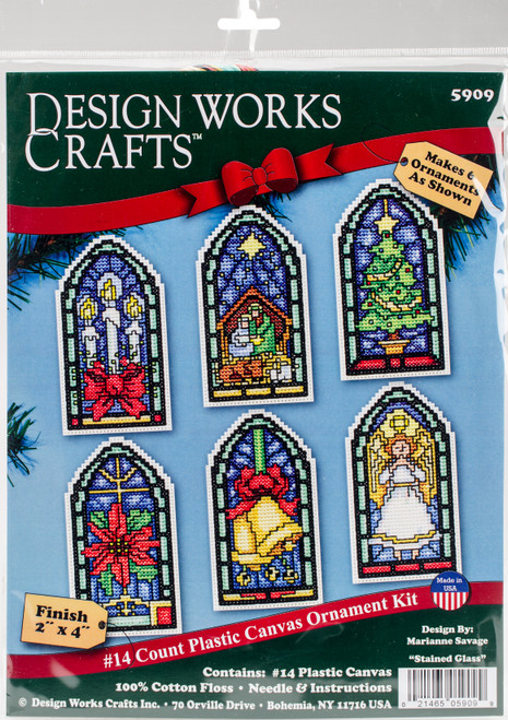 """Design Works Counted Cross Stitch Kit 2""""X4"""" Set of 6-Stained Glass Ornament (14 Count) -DW5909 - 021465059099"""