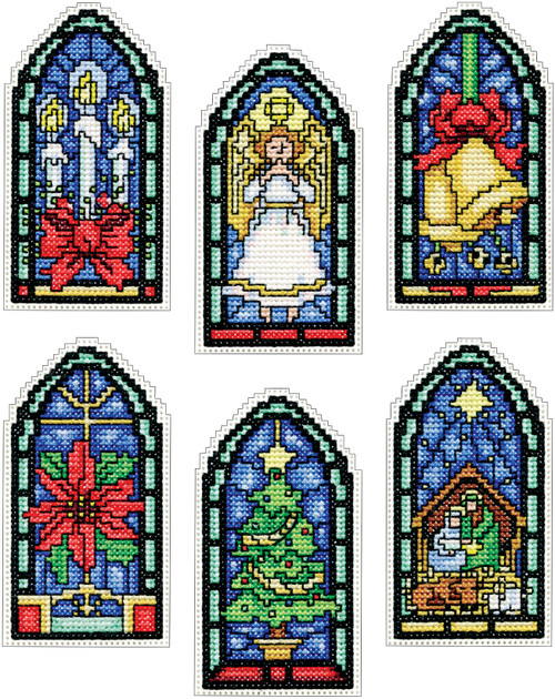 """Design Works Counted Cross Stitch Kit 2""""X4"""" Set of 6-Stained Glass Ornament (14 Count) -DW5909"""