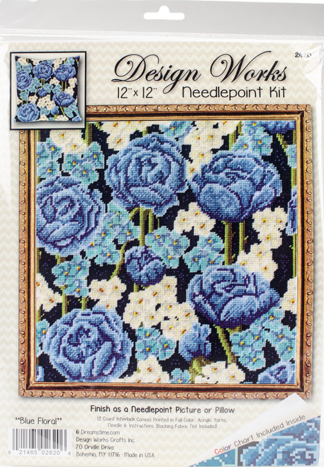 """Design Works Needlepoint Kit 12""""X12""""-Blue Roses-Stitched In Yarn -DW2620 - 021465026206"""