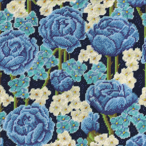 """Design Works Needlepoint Kit 12""""X12""""-Blue Roses-Stitched In Yarn -DW2620"""