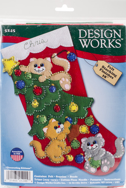 "Design Works Felt Stocking Applique Kit 18"" Long-Decorating Kittens -DW5245 - 021465052458"