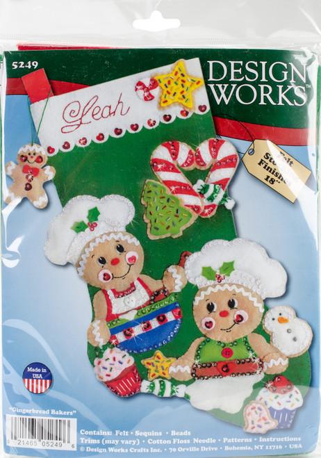 "Design Works Felt Stocking Applique Kit 18"" Long-Gingerbread Bakers -DW5249 - 021465052496"