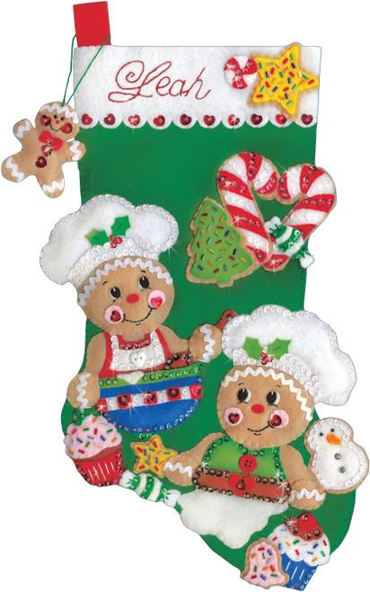 "Design Works Felt Stocking Applique Kit 18"" Long-Gingerbread Bakers -DW5249"
