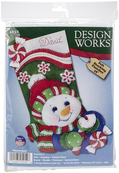 """Design Works Felt Stocking Applique Kit 18"""" Long-Candy Cane Snowman -DW5252 - 021465052526"""