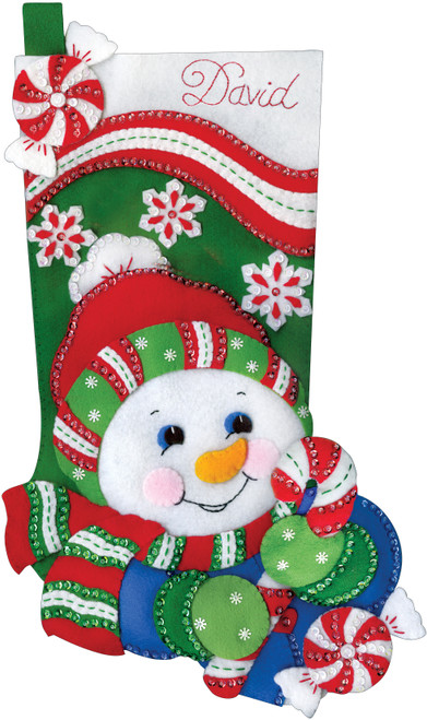 """Design Works Felt Stocking Applique Kit 18"""" Long-Candy Cane Snowman -DW5252"""