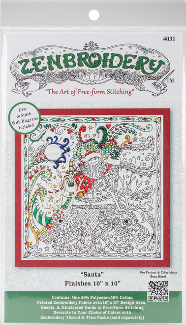 """Design Works/Zenbroidery Stamped Embroidery Kit 10""""X10""""-Christmas Santa -DW4031 - 021465040318"""