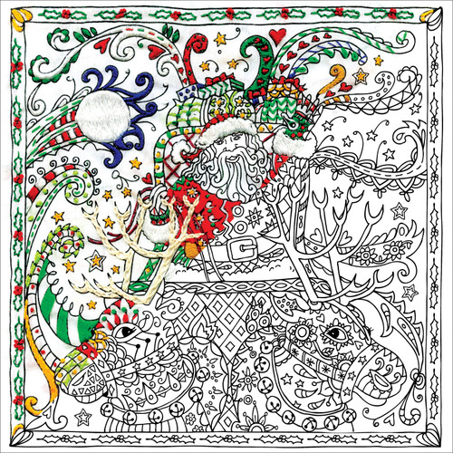 """Design Works/Zenbroidery Stamped Embroidery Kit 10""""X10""""-Christmas Santa -DW4031"""