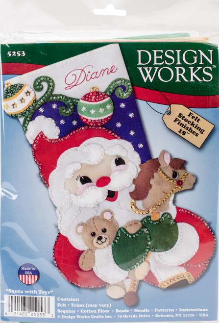 "Design Works Felt Stocking Applique Kit 18"" Long-Santa & Toys -DW5253 - 021465052533"