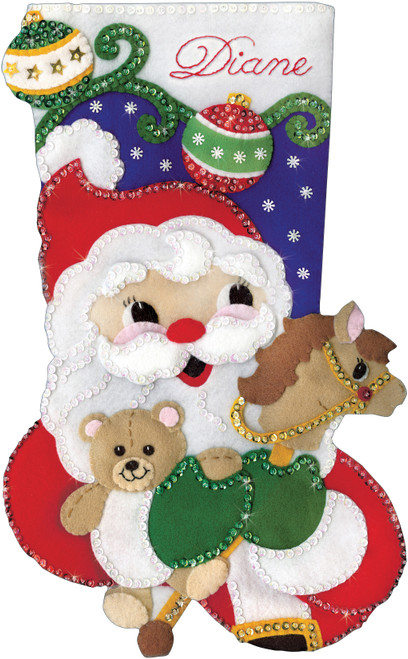 "Design Works Felt Stocking Applique Kit 18"" Long-Santa & Toys -DW5253"