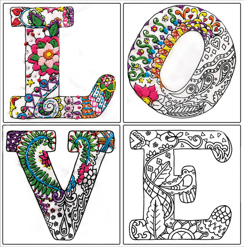"""Design Works/Zenbroidery Stamped Embroidery Kit 12""""X12""""-Love -DW4038"""