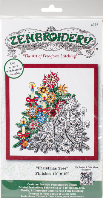 """Design Works/Zenbroidery Stamped Embroidery Kit 10""""X10""""-Christmas Tree -DW4025 - 021465040257"""