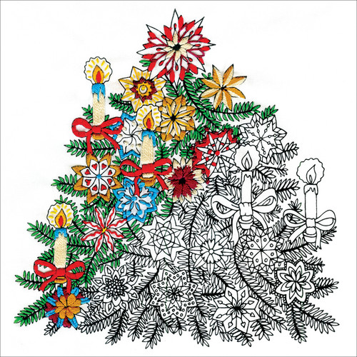 """Design Works/Zenbroidery Stamped Embroidery Kit 10""""X10""""-Christmas Tree -DW4025"""