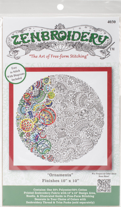 """Design Works/Zenbroidery Stamped Embroidery Kit 10""""X10""""-Christmas Ornaments -DW4030 - 021465040301"""