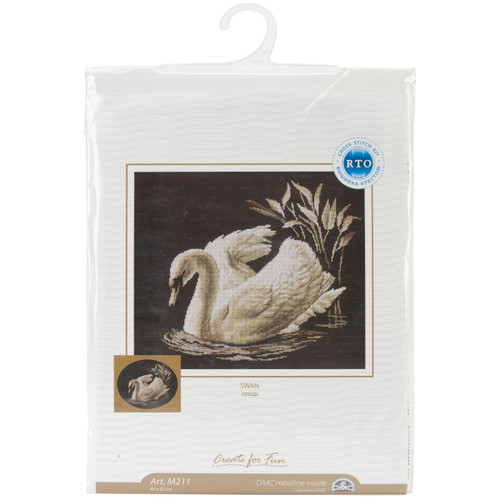 """RTO Counted Cross Stitch Kit 15.75""""X13.75""""-Swan (14 Count) -M211 - 4603643103075"""