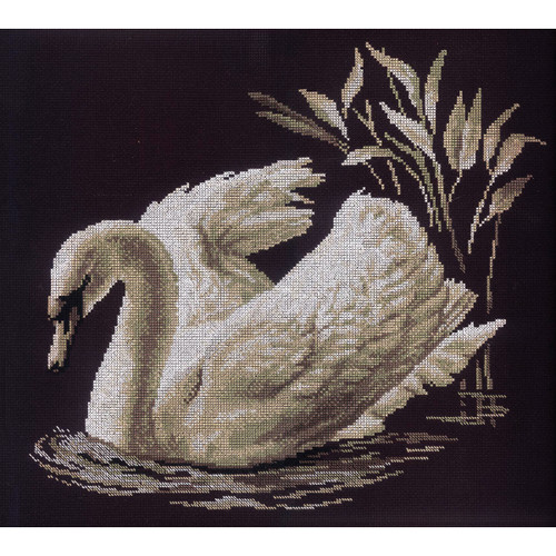 """RTO Counted Cross Stitch Kit 15.75""""X13.75""""-Swan (14 Count) -M211"""