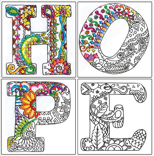 """Design Works/Zenbroidery Stamped Embroidery Kit 12""""X12""""-Hope -DW4039"""