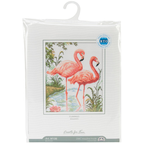 """RTO Counted Cross Stitch Kit 10.25""""X12.25""""-Flamingos (14 Count) -M106 - 4603643028743"""