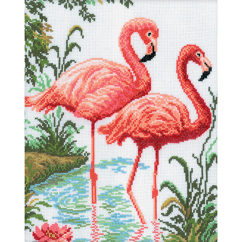 """RTO Counted Cross Stitch Kit 10.25""""X12.25""""-Flamingos (14 Count) -M106"""
