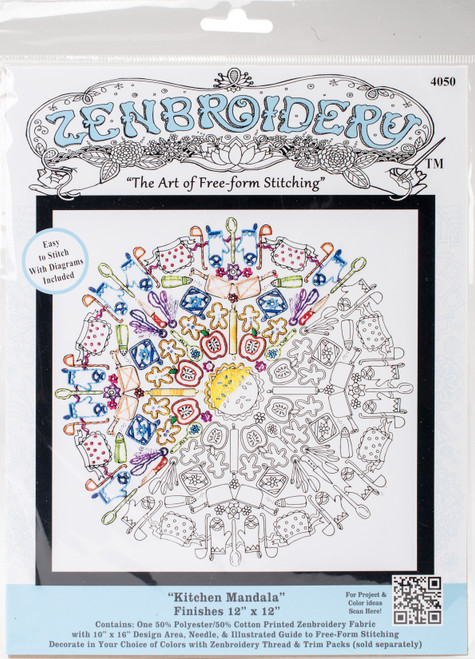 """Design Works/Zenbroidery Stamped Embroidery Kit 12""""X12""""-Kitchen Mandala -DW4050 - 021465040509"""